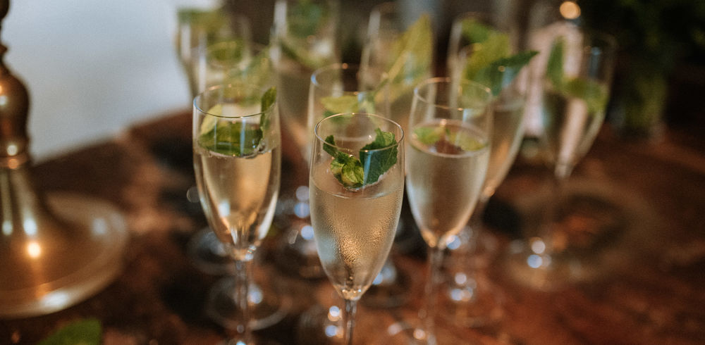 Prosecco, Elderflower and Mint Hugos served at the start of a wedding at Guardswell Farm