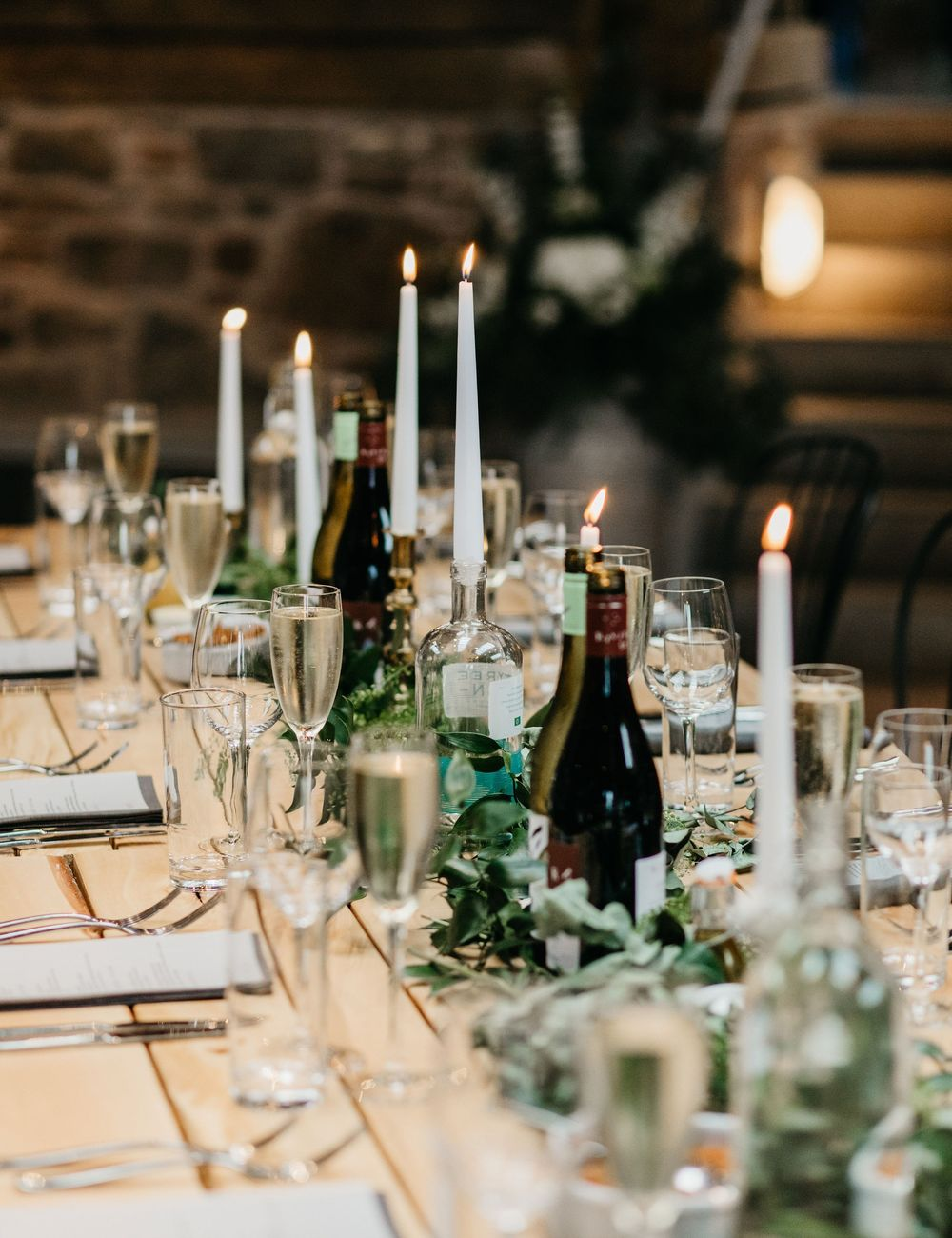 Wedding table set up with simple, beautiful decor