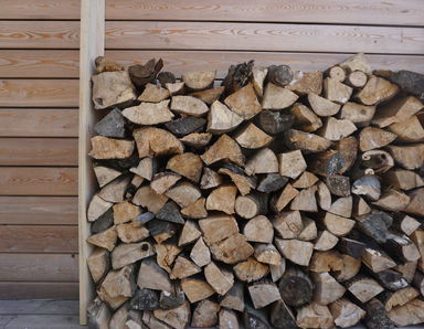 Log stack for the wood burner in the glamping hut