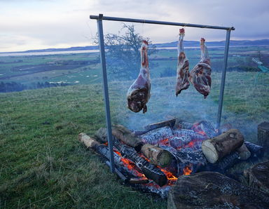 Venison cooked over open fire